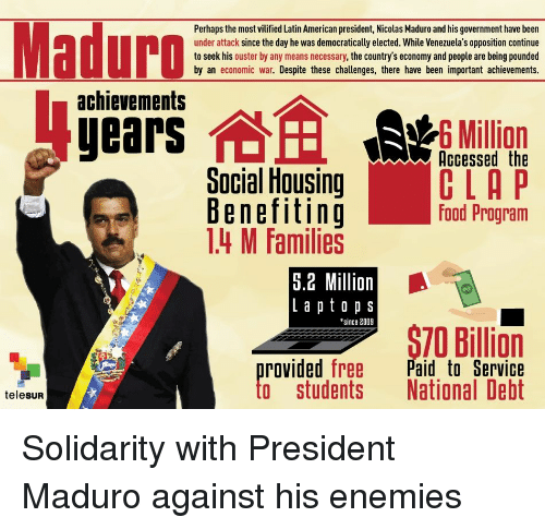 Food, American, and Free: Perhaps the most vilified Latin American president, Nicolas Maduro and his government have been  under attack since the day he was democratically elected. While Venezuela's opposition continue  to seek his ouster by any means necessary, the country's economy and people are being pounded  by an economic war. Despite these challenges, there have been important achievements.  achievements  6 Million  Social Housing  Benefitinig  14 M Families  Accessed the  CLA P  food Program  5.2 Million  L a p t o p s  since 2009  S70 Billion  provided free Paid to Servicie  to students National Debt  telesUR