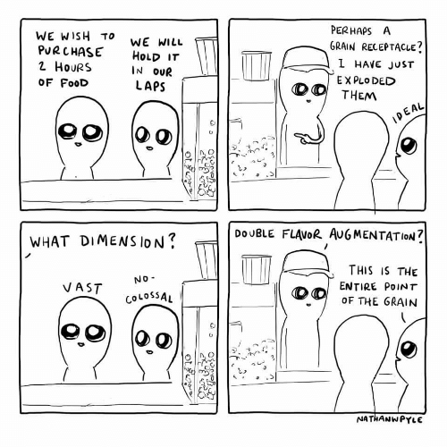 Food, Will, and Plo: PERHAPSA  GRAIN RECEPTACLE  WE WISH TO  PuRCHASE HoLD IT  2 HouRS  OF FooD  WE WILL  IN OUR  LAPS  L HAVE JuST  E X PLo DED  AL  臼  DoUBLE FLAVoR AUG MENTATION?  WHAT DIMENSION?  THIS IS THE  ENTIRE PoINT  OF THE GRAIN  No  CoLOSSAL  NATHANWPYLE