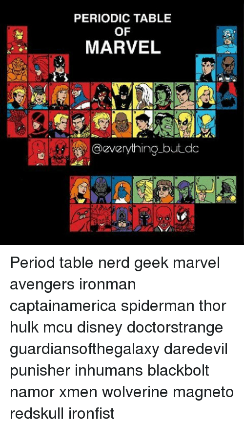 Periodic table of marvel but do period table nerd geek marvel memes daredevil and periodic table of marvel everything but do period urtaz Image collections