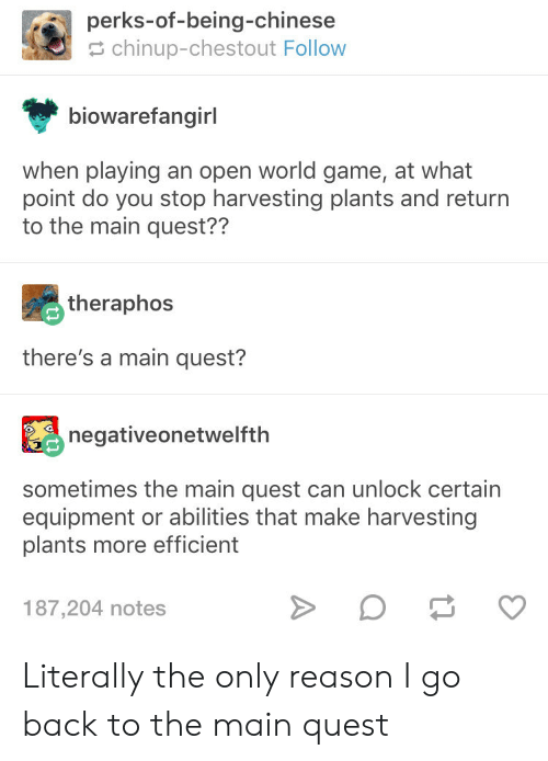 Chinese, Game, and Quest: perks-of-being-chinese  chinup-chestout Follow  biowarefangirl  when playing an open world game, at what  point do you stop harvesting plants and return  to the main quest??  theraphos  there's a main quest?  negativeonetwelfth  sometimes the main quest can unlock certain  equipment or abilities that make harvesting  plants more efficient  187,204 notes Literally the only reason I go back to the main quest