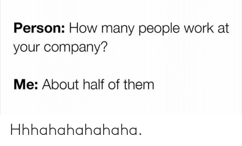 Memes, Work, and 🤖: Person: How many people work at  your company?  Me: About half of them Hhhahahahahaha.