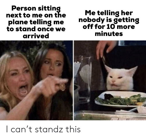 Her, Once, and Next: Person sitting  next to me on the  plane telling me  to stand once we  arrived  Me telling her  nobody is getting  off for 10 more  minutes I can't standz this