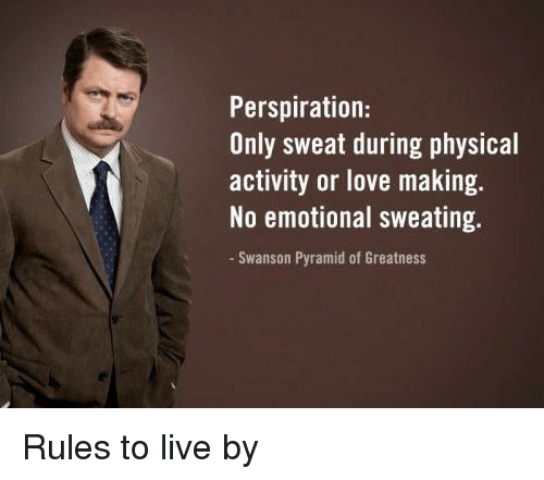 photograph relating to Ron Swanson Pyramid of Greatness Printable Version identify Perspiration Simply just Sweat For the duration of Actual physical Recreation or Delight in
