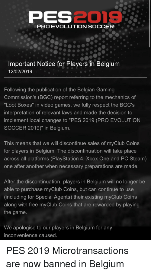 PES2019 PRO EVOLUTION SOCCER Important Notice for Players in