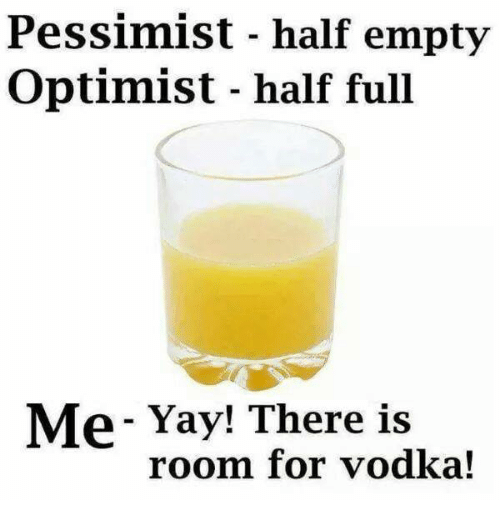 Memes, Vodka, and 🤖: Pessimist - half empty  Optimist - half full  Me- Yay! There is  room for vodka!