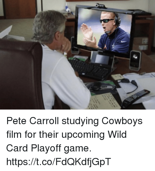 Dallas Cowboys, Pete Carroll, and Game: Pete Carroll studying Cowboys film for their upcoming Wild Card Playoff game. https://t.co/FdQKdfjGpT