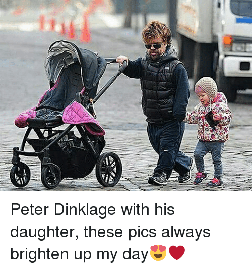Memes, Peter Dinklage, and 🤖: Peter Dinklage with his daughter, these pics always brighten up my day😍❤