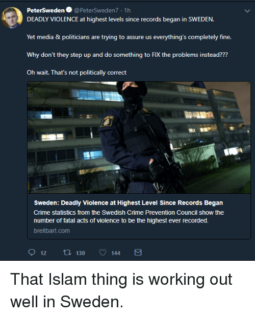 Crime, Working Out, and Islam: PeterSweden @PeterSweden7 1h  DEADLY VIOLENCE at highest levels since records began in SWEDEN.  Yet media & politicians are trying to assure us everything's completely fine.  Why don't they step up and do something to FIX the problems instead???  Oh wait. That's not politically correct  感.  Sweden: Deadly Violence at Highest Level Since Records Began  Crime statistics from the Swedish Crime Prevention Council show the  number of fatal acts of violence to be the highest ever recorded.  breitbart.com  912 tl 130 144