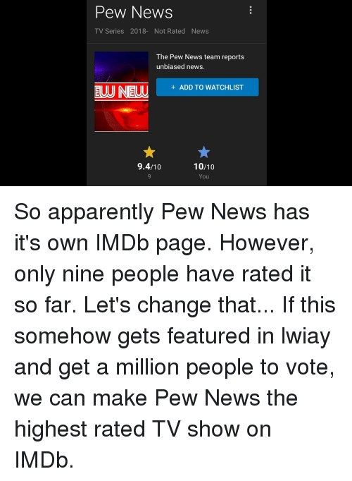 Pew News TV Series 2018- Not Rated News the Pew News Team
