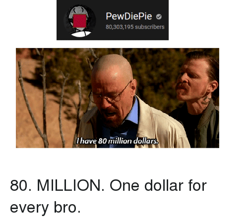 One, For, and Bro: PewDiePie  80,303,195 subscribers  I have 80 million dollars