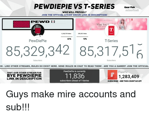 PEWDIEPIE VS T-Series Gear Fish Just Subscribed! WHO WILL