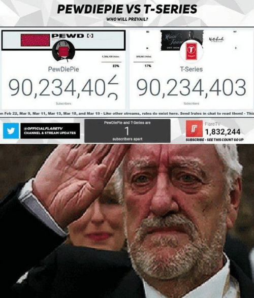 Memes, Chat, and 🤖: PEWDIEPIE VS T-SERIES  WHO WILL PREVAIL?  83%  17%  PewDiePie  T-Series  90,234,40 90,234,403  Subscriben  n Feb 22, Mar 9, Mar 11, Mar 13, Mar 18, and Mar 19-Like other streams, rulea do exist here. Send trules in chat to read themi Thit  PewDiePle and T-Series are  FlareTV  1,832,244  CHANNEL&STREAM UPDATES  subscribers apart  SUBSCRIBE SEE THIS COUNT GO UP