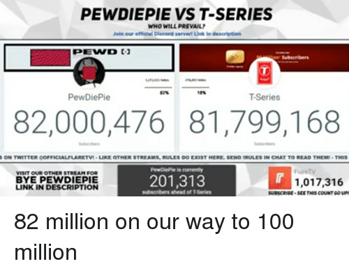 PEWDIEPIE VS T-Series WHO WILL PREVAIL Join Our Efficial Discord