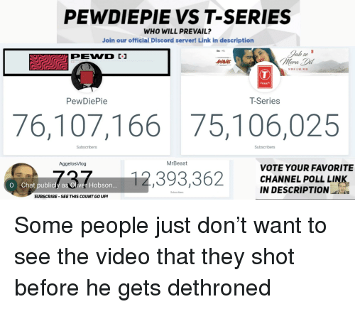 PEWDIEPIE VS T-Series WHO WILL PREVAIL? Join Our Official Discord