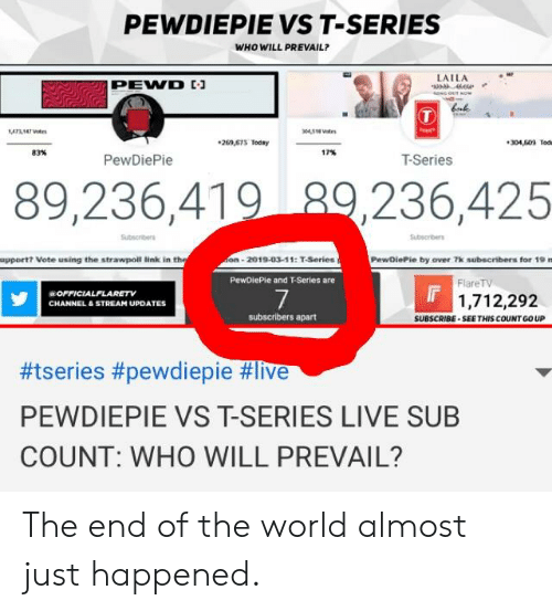 Link, Live, and Today: PEWDIEPIE VS T-SERIES  WHO WILL PREVAIL?  LAILA  PEVD  04518  269,515 Today  304,509 Tode  83%  17%  PewDiePie  T-Series  89,236,419 29,236,425  upportt Vote using the strawpoll link in  on-2019-03-11: T-Series  PewDiePie by over 7k subscribers for 19 m  PewDiePie and T-Series are  FlareTV  OFFICIALFLAR ETV  CHANNEL&STREAM UPDATES  7  1,712,292  subscribers apart  SUBSCRIBE SEETHIS COUNT GO UP  #tseries #pewdiepie #live  PEWDIEPIE VS T-SERIES LIVE SUB  COUNT: WHO WILL PREVAIL? The end of the world almost just happened.