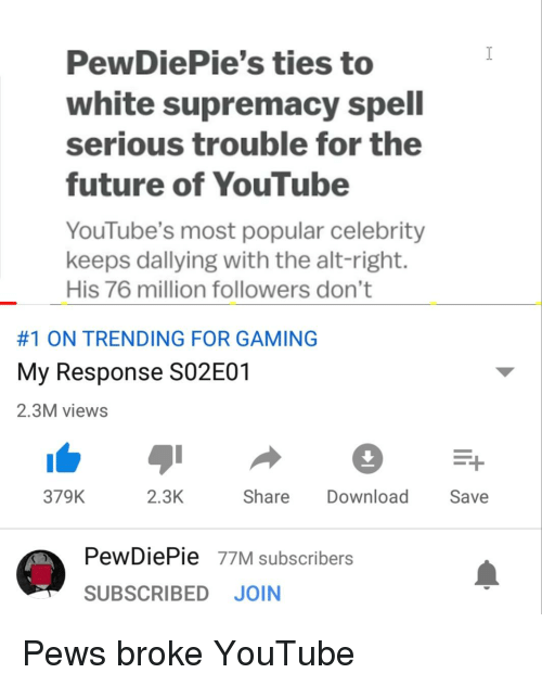 PewDiePie's Ties to White Supremacy Spell Serious Trouble