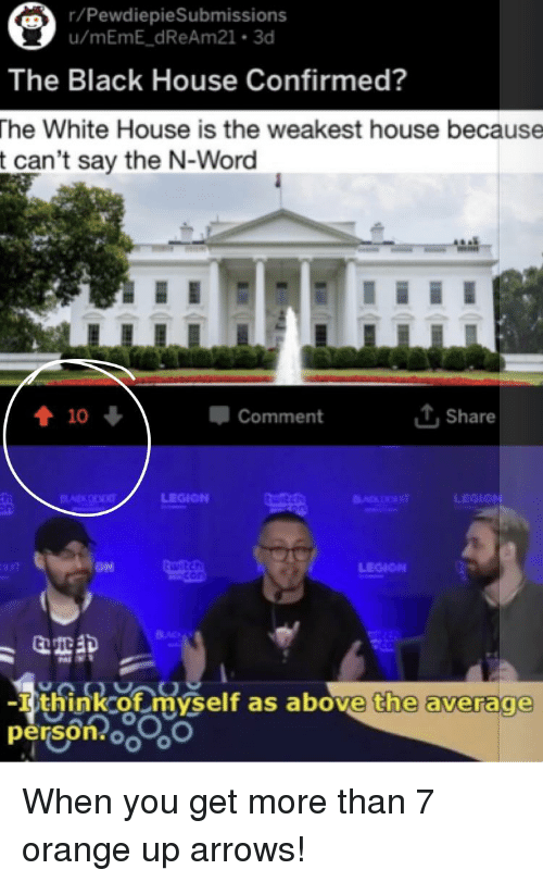 Bad, White House, and Black: /PewdiepieSubmissions  The Black House Confirmed?  he White House is the weakest house because  t can't say the N-Word  Comment  T,Share  LEGION  LEGION  BAD  -I think of myself as above, the average