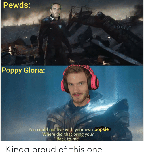 Live, Proud, and Back: Pewds:  u/TKingT  Poppy Gloria:  You could not live with your own oopsie  Where did that bring you?  Back to me. Kinda proud of this one