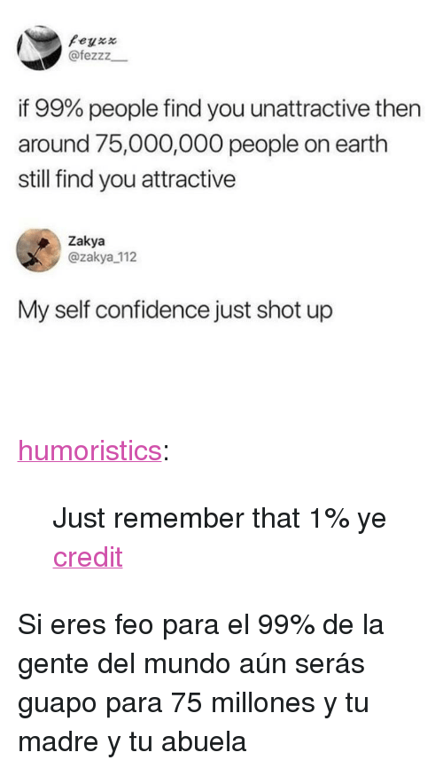 """Confidence, Reddit, and Tumblr: Peyxx  @fezzz  if 99% people find you unattractive then  around 75,000,000 people on earth  still find you attractive  Zakya  @zakya 112  My self confidence just shot up <p><a href=""""http://humoristics.tumblr.com/post/174624065340"""" class=""""tumblr_blog"""">humoristics</a>:</p>  <blockquote>Just remember that 1% ye <p><a href=""""https://www.reddit.com/r/wholesomememes/comments/8n8l6o/just_remember_that_1_ye/?utm_source=ifttt"""">credit</a></p></blockquote>  <p>Si eres feo para el 99% de la gente del mundo aún serás guapo para 75 millones y tu madre y tu abuela</p>"""