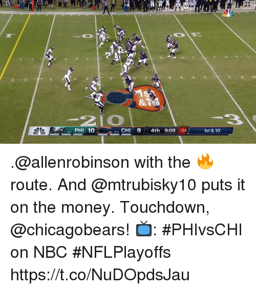 Memes, Money, and 🤖: PHI 10  4 CHI9 4th 9:09 :04  12-4  1st & 10 .@allenrobinson with the 🔥 route. And @mtrubisky10 puts it on the money.  Touchdown, @chicagobears!  📺: #PHIvsCHI on NBC #NFLPlayoffs https://t.co/NuDOpdsJau