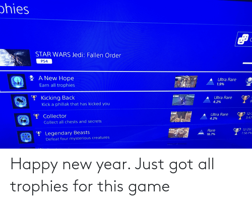 Jedi, New Year's, and Ps4: phies  STAR WARS Jedi: Fallen Order  PS4  A New Hope  Ultra Rare  1.9%  Earn all trophies  A.  T Kicking Back  Ultra Rare  4.2%  Kick a phillak that has kicked you  12/3  Ultra Rare  Y Collector  3:47  4.2%  Collect all chests and secrets  SD 12/29/  1:56 PM  Rare  P Legendary Beasts  16.7%  Defeat four mysterious creatures Happy new year. Just got all trophies for this game