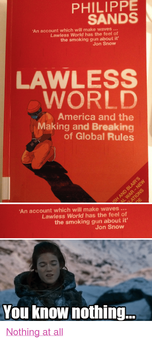 """America, Memes, and Smoking: PHILIPPE  SANDS  An account which will make waves...  Lawless World has the feel of  the smoking gun about it'  Jon Snow  LAWLESS  WORL  America and the  Making and Breaking  of Global Rules   An account which will make waves  Lawless World has the feel of  the smoking gun about it'  Jon Snow   You know nothing. <p><a href=""""http://knowyourmeme.com/memes/you-know-nothing-jon-snow"""">Nothing at all</a></p>"""