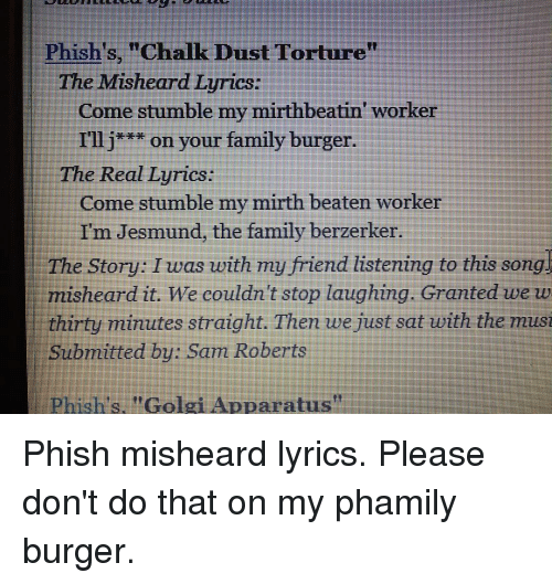 PHISH - GOLGI APPARATUS LYRICS