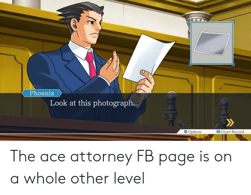 Phoenix, Record, and Ace Attorney: Phoenix  Look at this photograph  R Court Record  Options The ace attorney FB page is on a whole other level