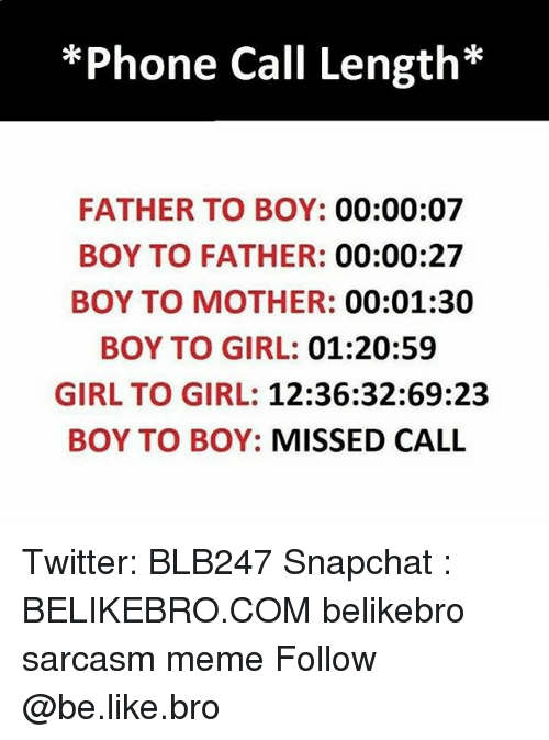 Be Like, Meme, and Memes: *Phone Call Length*  FATHER TO BOY: 00:00:07  BOY TO FATHER: 00:00:27  BOY TO MOTHER: 00:01:30  BOY TO GIRL: 01:20:59  GIRL TO GIRL: 12:36:32:69:23  BOY TO BOY: MISSED CALL Twitter: BLB247 Snapchat : BELIKEBRO.COM belikebro sarcasm meme Follow @be.like.bro