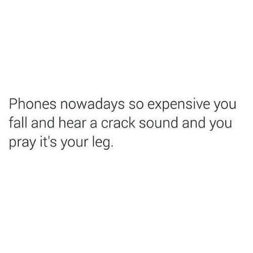 Fall, Crack, and Sound: Phones nowadays so expensive you  fall and hear a crack sound and you  pray it's your leg.