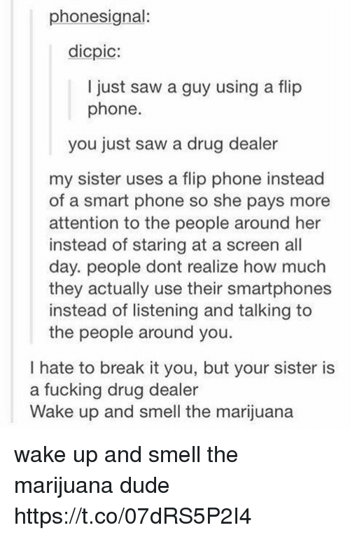 Drug Dealer, Dude, and Fucking: phonesignal:  dicpic:  I just saw a guy using a flip  phone  you just saw a drug dealer  my sister uses a flip phone instead  of a smart phone so she pays more  attention to the people around her  instead of staring at a screen all  day. people dont realize how much  they actually use their smartphones  instead of listening and talking to  the people around you.  I hate to break it you, but your sister is  a fucking drug dealer  Wake up and smell the marijuana wake up and smell the marijuana dude https://t.co/07dRS5P2I4