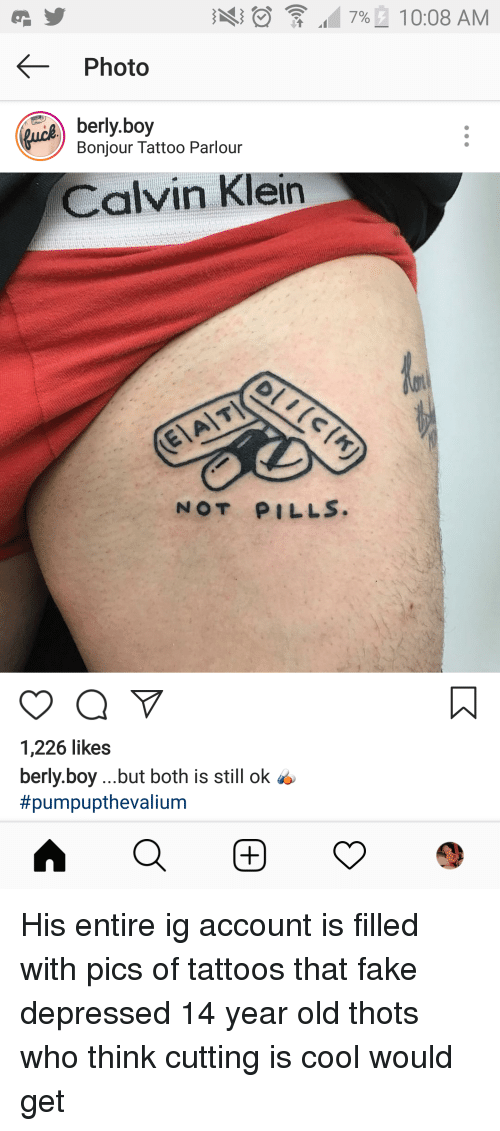Photo Berlyboy Bonjour Tattoo Parlour Calvin Klein Not Pills