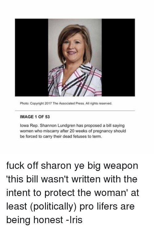Memes, Fuck, and Iowa: Photo: Copyright 2017 The Associated Press. All rights reserved.  MAGE 1 OF 53  Iowa Rep. Shannon Lundgren has proposed a bill saying  women who miscarry after 20 weeks of pregnancy should  be forced to carry their dead fetuses to term. fuck off sharon ye big weapon 'this bill wasn't written with the intent to protect the woman' at least (politically) pro lifers are being honest -Iris