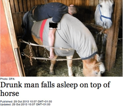 Photo Dpa Drunk Man Falls Asleep On Top Of Horse Published 29 Oct