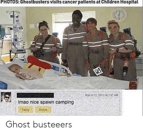 Children, Cancer, and Ghost: PHOTOS: Ghostbusters visits cancer patients at Children Hospital  Imao nice spawn camping Ghost busteeers