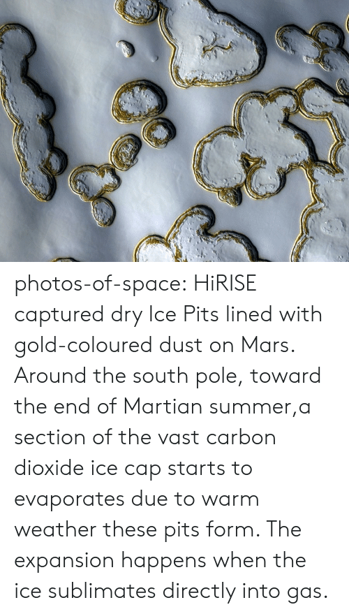 Tumblr, Summer, and Blog: photos-of-space:  HiRISE captured dry Ice Pits lined with gold-coloured dust on Mars. Around the south pole, toward the end of Martian summer,a section of the vast carbon dioxide ice cap starts to evaporates due to warm weather  these pits form. The expansion happens when the ice sublimates directly into gas.