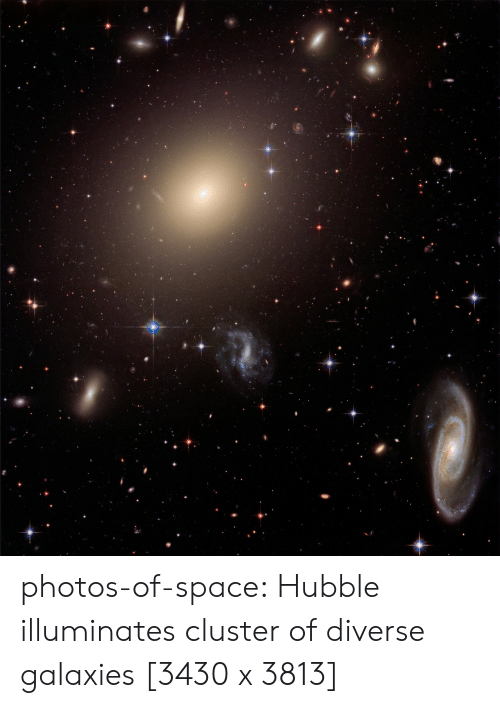 Tumblr, Blog, and Space: photos-of-space:  Hubble illuminates cluster of diverse galaxies [3430 x 3813]