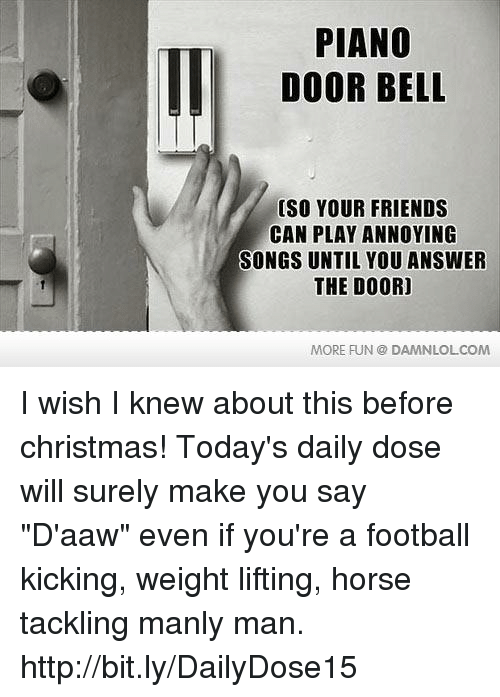 Christmas, Football, and Friends: PIANO  DOOR BELL  (SO YOUR FRIENDS  CAN PLAY ANNOYING  SONGS UNTIL YOU ANSWER  THE DOOR]  MORE FUN DAMNLOLCOM I wish I knew about this before christmas!