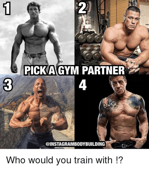 Gym, Memes, and Train: PICKA GYM PARTNER  @INSTAGRAMBODYBUILDING Who would you train with !?