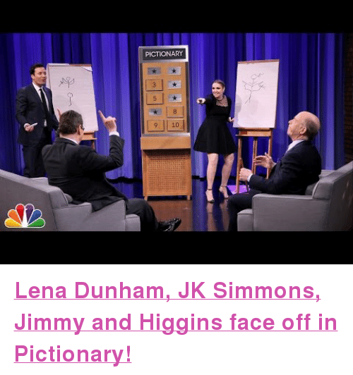 "J.K. Simmons, Target, and youtube.com: PICTIONARY <p><a href=""https://www.youtube.com/watch?v=p7bzkvn4BFA"" target=""_blank""><strong>Lena Dunham, JK Simmons, Jimmy and Higgins face off in Pictionary!</strong></a></p>"