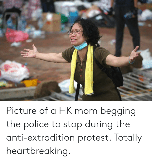 Police, Protest, and Mom: Picture of a HK mom begging the police to stop during the anti-extradition protest. Totally heartbreaking.