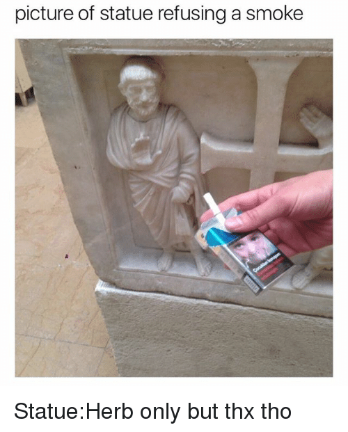 Girl Memes, Thx, and Picture: picture of statue refusing a smoke Statue:Herb only but thx tho