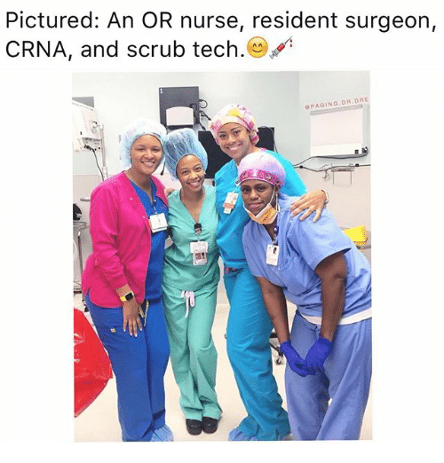 Pictured An Or Nurse Resident Surgeon Crna And Scrub Tech