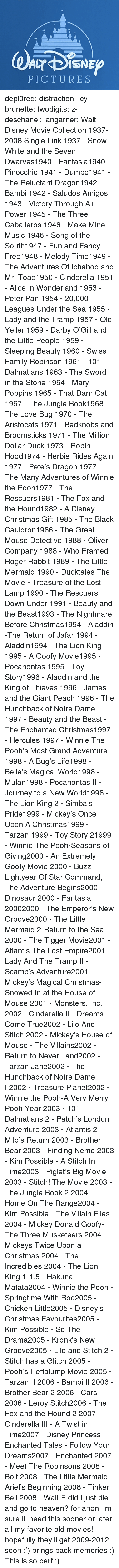 A Goofy Movie, Aladdin, and Ariel: PICTURES depl0red:  distraction:   icy-brunette:   twodigits:   z-deschanel:   iangarner:   Walt Disney Movie Collection 1937-2008 Single Link      1937 - Snow White and the Seven Dwarves1940 - Fantasia1940 - Pinocchio 1941 - Dumbo1941 - The Reluctant Dragon1942 - Bambi 1942 - Saludos Amigos 1943 - Victory Through Air Power 1945 - The Three Caballeros 1946 - Make Mine Music 1946 - Song of the South1947 - Fun and Fancy Free1948 - Melody Time1949 - The Adventures Of Ichabod and Mr. Toad1950 - Cinderella 1951 - Alice in Wonderland 1953 - Peter Pan 1954 - 20,000 Leagues Under the Sea 1955 - Lady and the Tramp 1957 - Old Yeller 1959 - Darby O'Gill and the Little People 1959 - Sleeping Beauty 1960 - Swiss Family Robinson 1961 - 101 Dalmatians 1963 - The Sword in the Stone 1964 - Mary Poppins 1965 - That Darn Cat 1967 - The Jungle Book1968 - The Love Bug 1970 - The Aristocats 1971 - Bedknobs and Broomsticks 1971 - The Million Dollar Duck 1973 - Robin Hood1974 - Herbie Rides Again 1977 - Pete's Dragon 1977 - The Many Adventures of Winnie the Pooh1977 - The Rescuers1981 - The Fox and the Hound1982 - A Disney Christmas Gift 1985 - The Black Cauldron1986 - The Great Mouse Detective 1988 - Oliver  Company 1988 - Who Framed Roger Rabbit 1989 - The Little Mermaid 1990 - Ducktales The Movie - Treasure of the Lost Lamp 1990 - The Rescuers Down Under 1991 - Beauty and the Beast1993 - The Nightmare Before Christmas1994 - Aladdin -The Return of Jafar 1994 - Aladdin1994 - The Lion King 1995 - A Goofy Movie1995 - Pocahontas 1995 - Toy Story1996 - Aladdin and the King of Thieves 1996 - James and the Giant Peach 1996 - The Hunchback of Notre Dame 1997 - Beauty and the Beast - The Enchanted Christmas1997 - Hercules 1997 - Winnie The Pooh's Most Grand Adventure 1998 - A Bug's Life1998 - Belle's Magical World1998 - Mulan1998 - Pocahontas II - Journey to a New World1998 - The Lion King 2 - Simba's Pride1999 - Mickey's Once Upon A Christmas1999 - Tarzan 1999 - Toy Story 21999 - Winnie The Pooh-Seasons of Giving2000 - An Extremely Goofy Movie 2000 - Buzz Lightyear Of Star Command, The Adventure Begins2000 - Dinosaur 2000 - Fantasia 20002000 - The Emperor's New Groove2000 - The Little Mermaid 2-Return to the Sea 2000 - The Tigger Movie2001 - Atlantis The Lost Empire2001 - Lady And The Tramp II - Scamp's Adventure2001 - Mickey's Magical Christmas-Snowed In at the House of Mouse 2001 - Monsters, Inc. 2002 - Cinderella II - Dreams Come True2002 - Lilo And Stitch 2002 - Mickey's House of Mouse - The Villains2002 - Return to Never Land2002 - Tarzan  Jane2002 - The Hunchback of Notre Dame II2002 - Treasure Planet2002 - Winnie the Pooh-A Very Merry Pooh Year 2003 - 101 Dalmatians 2 - Patch's London Adventure 2003 - Atlantis 2 Milo's Return 2003 - Brother Bear 2003 - Finding Nemo 2003 - Kim Possible - A Stitch In Time2003 - Piglet's Big Movie 2003 - Stitch! The Movie 2003 - The Jungle Book 2 2004 - Home On The Range2004 - Kim Possible - The Villain Files 2004 - Mickey Donald Goofy-The Three Musketeers 2004 - Mickeys Twice Upon a Christmas 2004 - The Incredibles 2004 - The Lion King 1-1.5 - Hakuna Matata2004 - Winnie the Pooh - Springtime With Roo2005 - Chicken Little2005 - Disney's Christmas Favourites2005 - Kim Possible - So The Drama2005 - Kronk's New Groove2005 - Lilo and Stitch 2 - Stitch has a Glitch 2005 - Pooh's Heffalump Movie 2005 - Tarzan II 2006 - Bambi II 2006 - Brother Bear 2 2006 - Cars 2006 - Leroy  Stitch2006 - The Fox and the Hound 2 2007 - Cinderella III - A Twist in Time2007 - Disney Princess Enchanted Tales - Follow Your Dreams2007 - Enchanted 2007 - Meet The Robinsons 2008 - Bolt 2008 - The Little Mermaid - Ariel's Beginning 2008 - Tinker Bell 2008 - Wall-E      did i just die and go to heaven?   for anon.    im sure ill need this sooner or later    all my favorite old movies! hopefully they'll get 2009-2012 soon :')   brings back memories :)   This is so perf :)