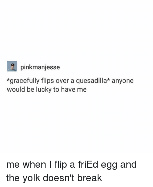 Ironic, Break, and Quesadilla: pinkmanjesse  *gracefully flips over a quesadilla* anyone  would be lucky to have me me when I flip a friEd egg and the yolk doesn't break