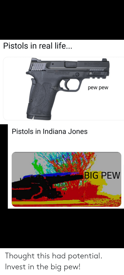 Life, Indiana, and Indiana Jones: Pistols in real life...  SMITH& WESSON  SERINGEECOAU  330 AUTO  CAUTION  Copoble of fring with  Mogorine Removed  pew pew  Pistols in Indiana Jones  BIG PEW Thought this had potential. Invest in the big pew!