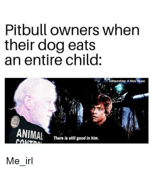 Pitbull Owners When Their Dog Eats an Entire Child Sithposting a New