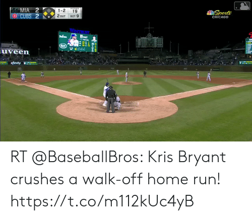 me.me: PITCHES  1-2 19  2OUT BOT 9  CHICAGO  uveen  xfınty  쓸  ./rity  ·  ATI RT @BaseballBros: Kris Bryant crushes a walk-off home run! https://t.co/m112kUc4yB