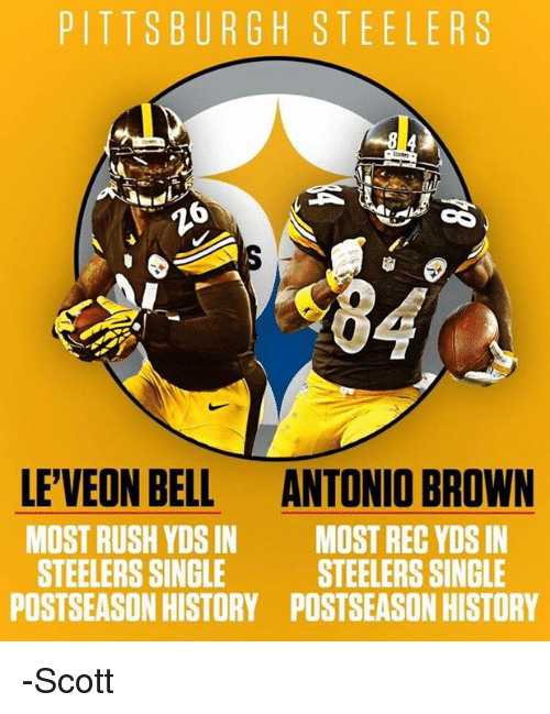 f20b4185 PITTSBURGH STEELERS LEVEON BELL ANTONIO BROWN MOST RUSH YDSIN MOST ...