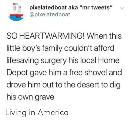 """America, Family, and Free: pixelatedboat aka """"mr tweets""""  @pixelatedboat  SO HEARTWARMING! When this  little boy's family couldn't afford  lifesaving surgery his local Home  Depot gave him a free shovel and  drove him out to the desert to dig  his own grave Living in America"""